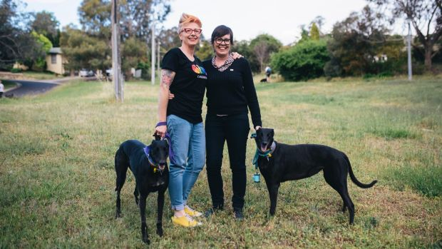 Frankie Bodel and Julie Maynard with their dogs Molly and Heidi.