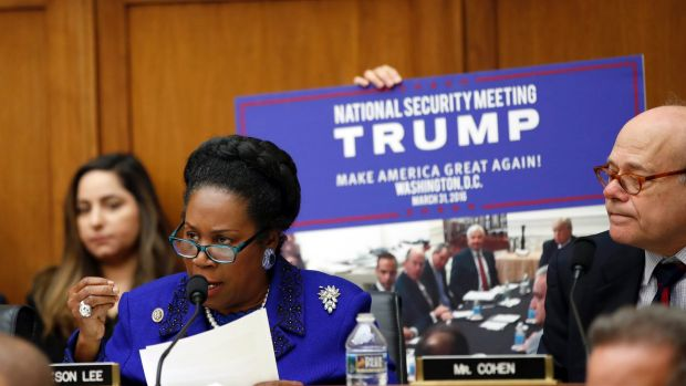 Representative Sheila Jackson Lee questions Attorney General Jeff Sessions during a House Judiciary Committee hearing on ...