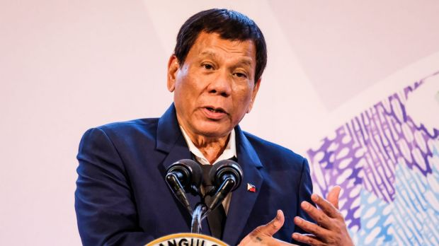 Rodrigo Duterte, the Philippines' president, speaks during a news conference at the Asean Summit in Manila.