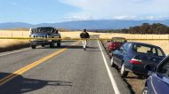 Crime tape blocks off Rancho Tehama Road leading into the Rancho Tehama subdivision south of Red Bluff, Calif., ...