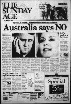 The front page of The Age after Australia voted no to become a republic.
