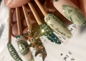 "Examples of Bernadette Thompson's ""money nails,"" which the manicurist first created in the mid-1990s."