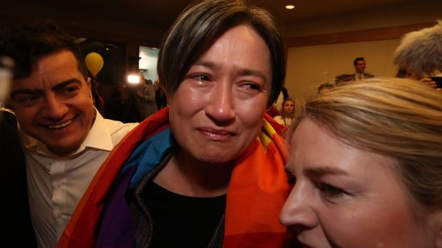 """Thank you, Australia."" Penny Wong reacts."