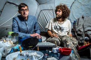 Louis Theroux (left) meets Nate Walsh, a heroin user who lives in a tent on an Ohio riverbank, in Louis Theroux: Heroin Town.