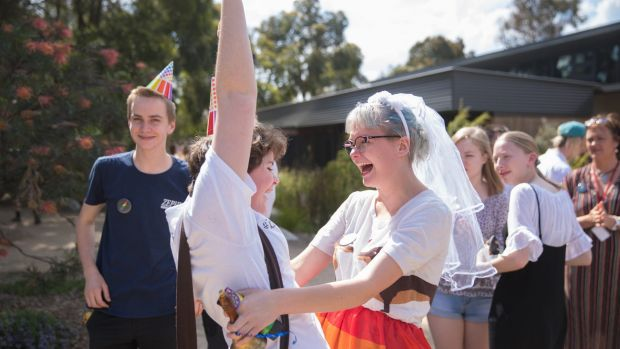 Woodleigh School students Cas Baptist and Indigo Rule celebrate the result.