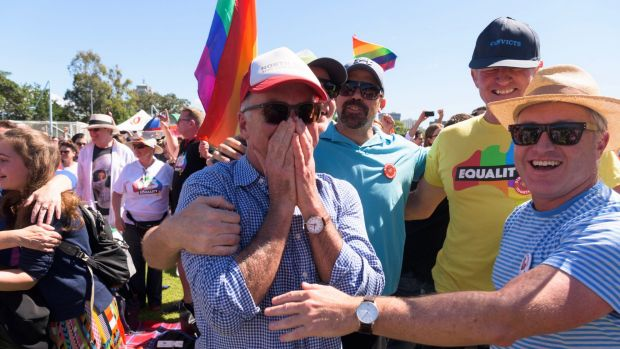 "Same-sex marriage supporters react to the ""yes"" result at Prince Alfred Park in Surry Hills, Sydney."