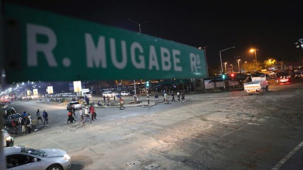 Robert Mugabe Road in Harare on Tuesday. The Associated Press saw three armoured personnel carriers with several ...
