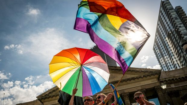 Thousands of Melburnians turned out to celebrate the Yes vote at the State Library.