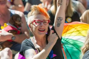 Haig Park marriage equality picnic - Canberrans react to the Yes vote. Frankie Bodel fist pumps the resounding Yes vote.