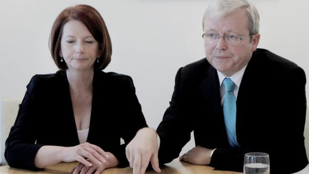 Julia Gillard meets with Kevin Rudd in August 2010, after ousting him as prime minister.