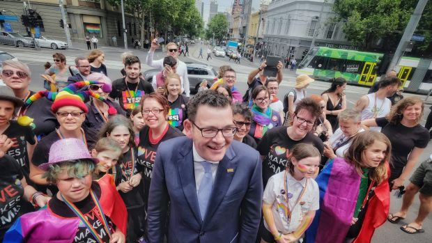 Victorian Premier Daniel Andrews is greeted at Spring Street by marriage equality campaigners.