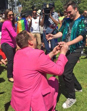 James Brechney got down on one knee to propose to his partner Stuart Henshall at Prince Alfred Park on Wednesday.