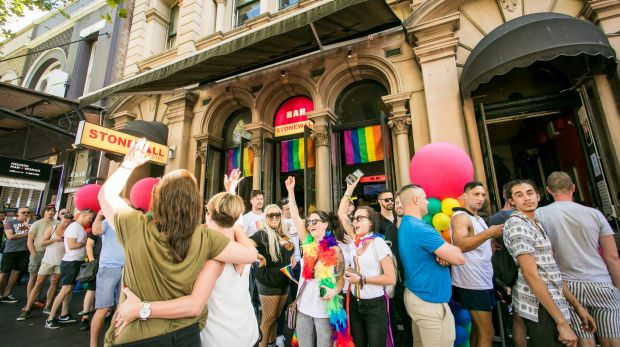"Supporters of same-sex marriage celebrate the ""yes"" verdict at the iconic Stonewall Hotel on Sydney's Oxford Street."