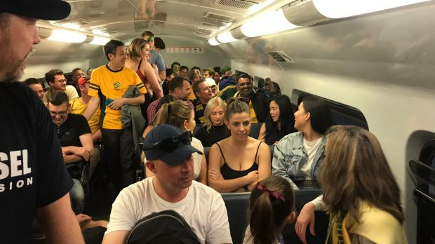 Sydney fans stuck on a train due to delays on route to ANZ Stadium.