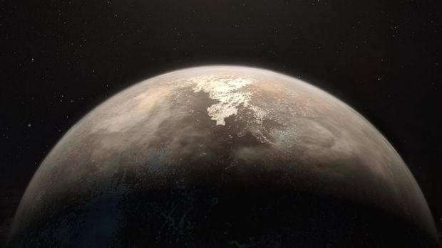 An artist's impression of the temperate planet Ross 128 b, which lies only 11 light-years from Earth.