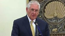 US Secretary of State Rex Tillerson addresses the media in Myanmar.