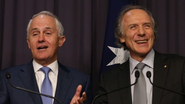 Prime Minister Malcolm Turnbull with Chief Scientist Alan Finkel.