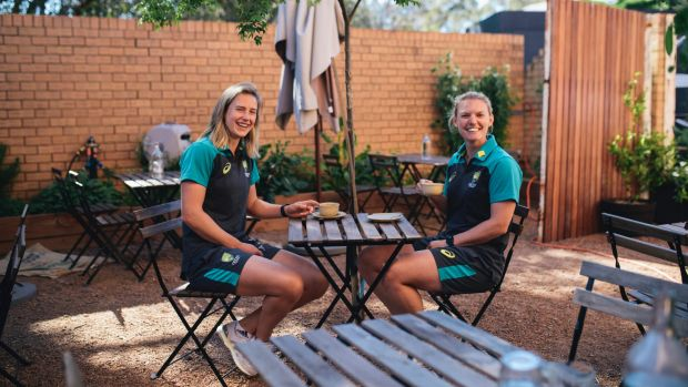 Australian cricketers Kristen Beams and Ellyse Perry at Two Before Ten cafe in Aranda.