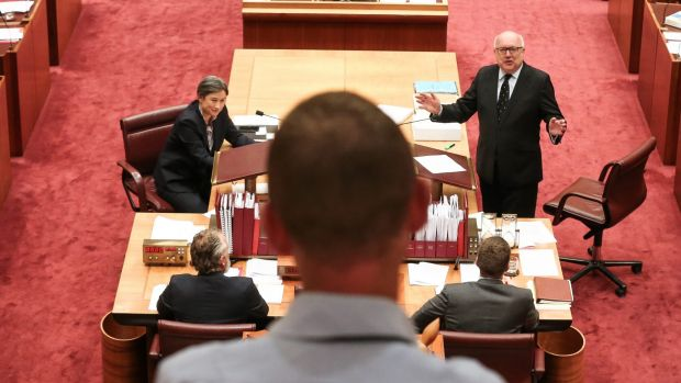 Veteran Walkley-award winning Fairfax Media photographer, Andrew Meares, is farewelled from the Senate with by Labor ...