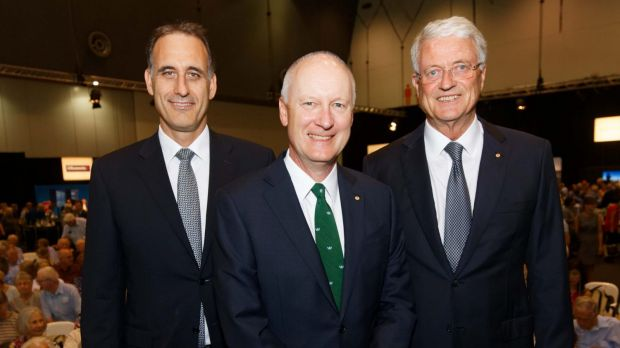 Rob Scot, Richard Goyder and Michael Chaney at Wesfarmers' AGM on Thursday.