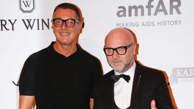 Italian fashion designers Domenico Dolce, right, and Stefano Gabbana pose on the red carpet of The Foundation for AIDS ...