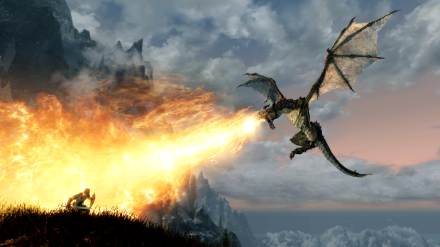 Battle dragons dressed as Link — or not — in Skyrim on Switch.