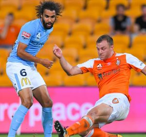 Brisbane's Avram Papadopoulos pounces to convert a chance.