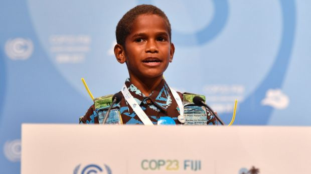 Twelve-year-old Timoci Naulusala, from Fiji, delivers his nation's plea to the 23rd COP in Bonn on Wednesday.