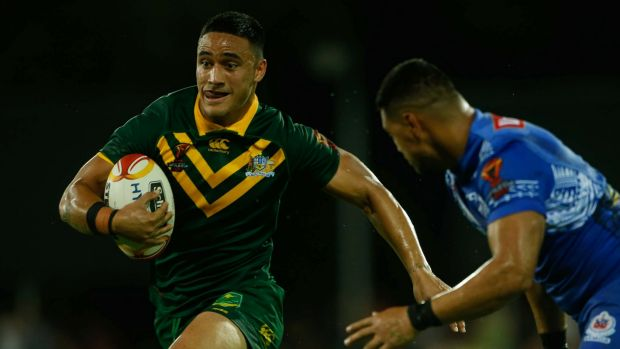 Good time Val: Valentine Holmes surges into the clear against Samoa in Darwin.