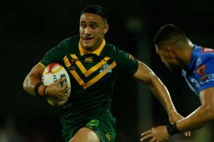 Hard to stop: Valentine Holmes scored five tries in Australia's World Cup quarter-final win over Samoa.
