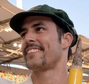 Mitchell Johnson celebrates as Australia win the match during day four of the first Ashes Test at the Gabba in 2013.