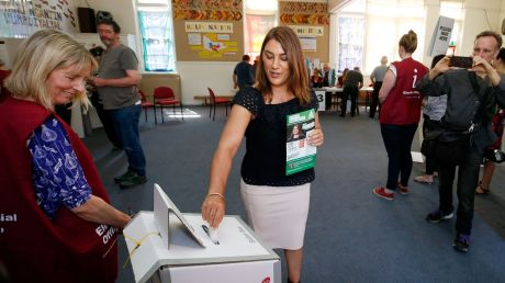 Lidia Thorpe, the Greens candidate in the Northcote by-election, casts her vote.