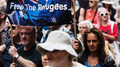 Protesters rally in Hyde Park against the Australian government's refusal to bring refugees on Manus Island to Australia.