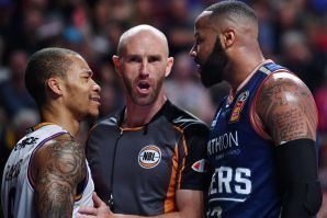 Heated: Jeremy Randle of the Sydney Kings and Shannon Shorter exchange words.