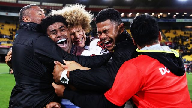 Kevin Naiqama and Fiji celebrate.