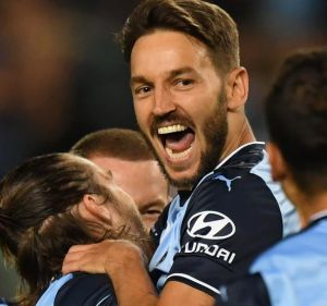 The technician: Milos Ninkovic celebrates his goal at Allianz Stadium.