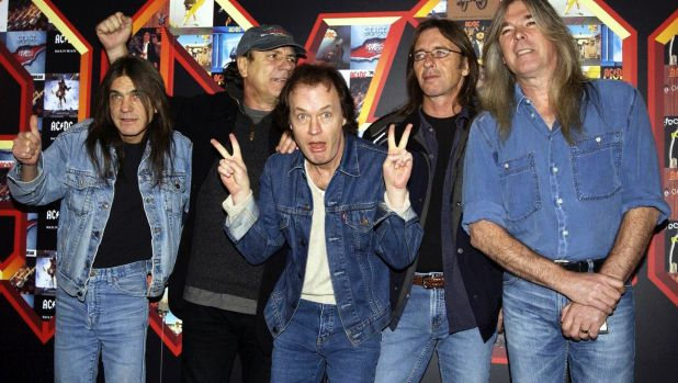 Malcolm Young, Brian Johnson, Angus Young, Phil Rudd and Cliff Williams from AC/DC at the Apollo Hammersmith in London ...