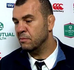 Unhappy: Wallabies coach Michael Cheika argues with a beINsports reporter.