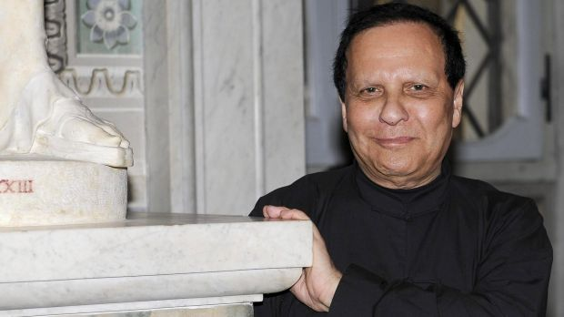 Tunisian-born French fashion designer Azzedine Alaia attends the presentation of his exhibition at the Galleria Borghese ...