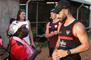 New Bombers player Adam Saad during the club's Northern Territory training camp.