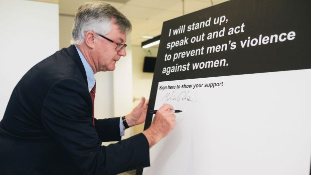 Department of the Prime Minister and Cabinet chief Martin Parkinson marks White Ribbon Day.