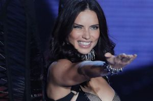 Model Adriana Lima wears a creation during the Victoria's Secret fashion show at the Mercedes-Benz Arena in Shanghai, ...