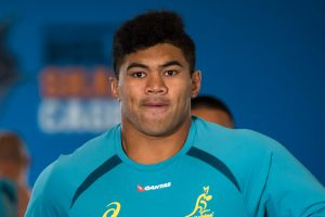 Rising star: Jordan Uelese played two home Tests and scored a try in his second Wallabies game.