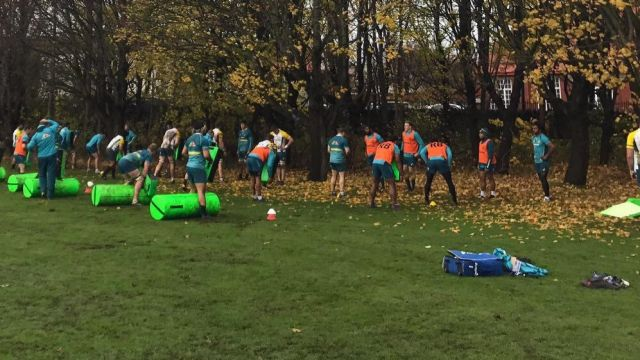Kicked off: The Wallabies were booted off their training field in Edinburgh on Tuesday.