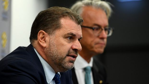 Ange Postecoglou and David Gallop address the media in Sydney on Wednesday.