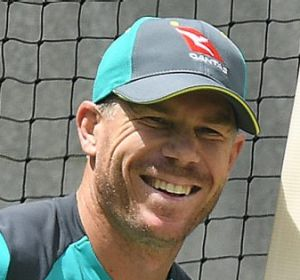 David Warner bats in the nets on Wednesday.