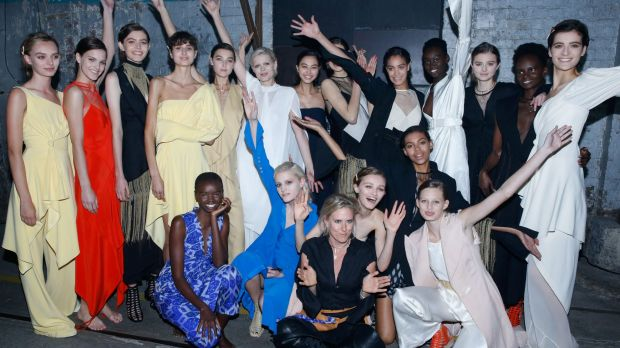 Kit Willow Podgornik and models backstage at her most recent show.