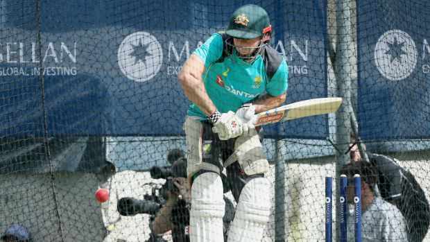 In doubt: Shaun Marsh in the nets at the Gabba.