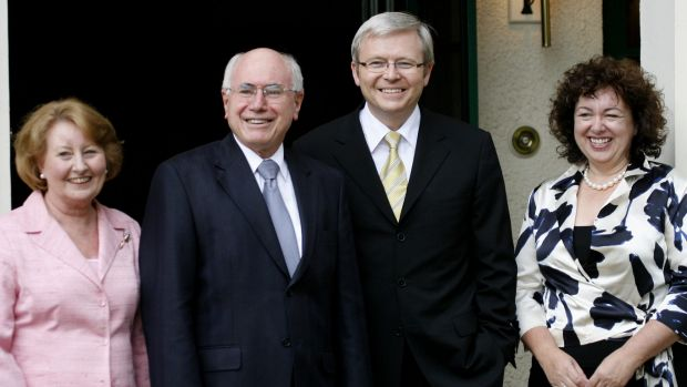 John Howard and his wife Janette show Kevin Rudd and his wife Therese Rein through the Lodge after Rudd's election in ...
