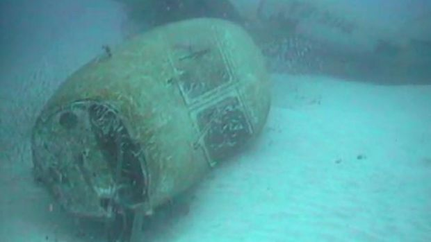 Wreckage of the sunken plane off Norfolk Island